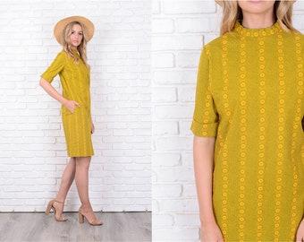 Vintage 60s 70s Green + Yellow Shift Dress Mod Geometric Small S 11523