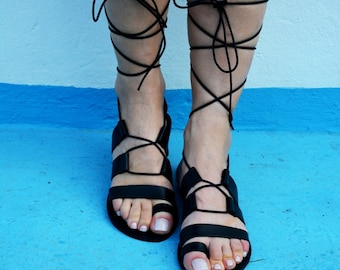 Black Gladiator Sandals, Leather Sandals, Lace up sandals, Tie up Sandals, Black leather sandals , Genuine leather ''Dinami''