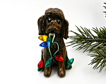 Boykin Spaniel Porcelain Christmas Ornament Figurine with Lights