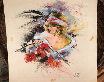 Vintage ART ARTWORK Mixed Media Fantasy Portrait Illegibly Signed and Dated 1975 Outsider Art Boho Hippie  Unframed Original Painting