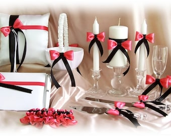 Coral Reef and Black Wedding Basket, Pillow, Guest Book, Garters, Flutes, Cake Set, Candles , 12pcs Wedding Accessories Ceremony Decor
