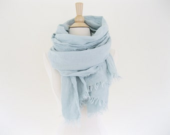 Washed Linen Scarf with Fringe, Linen Wrap Scarf, Soft Linen Scarf, Casual Linen Scarf, Lightweight Scarf Summer Scarves, Fringed Scarf