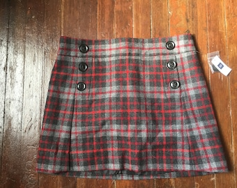 Thrifted Red Plaid Button Skirt
