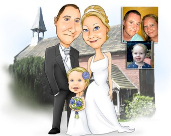 Three Person or more Colour Caricature with background
