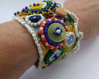 Vintage cuff, vintage velvet, buttons, beads, embroidery. Summer fashion accessory, one of a kind gift, UK Seller