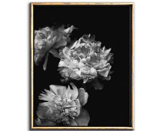 Peonies Wall Art Dark Floral Wall Art Moody Floral Print Downloadable Prints Peony Print Black and White Flower Print Dark Floral Art  sc 1 st  Etsy & Moody floral | Etsy