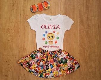 Emoji Birthday Outfit, First Birthday Set, Birthday Outfit, Emoji Party Outfit, Emoji Shirt, Emoji Skirt