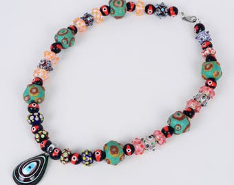 The All-Seeing Eye Necklace! ALL Glass Evil Eye Beads! (001476)