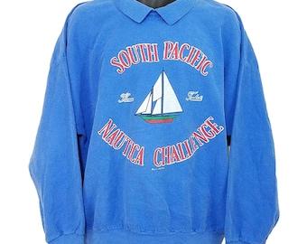 South Pacific Nautica Challenge Sweatshirt Vintage 80s Polo Collar Mens Size XL