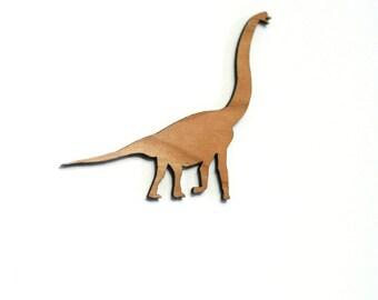 Brachiosaurus Dinosaur Brooch. Brontosaurus Pin. Dinosaur Badge. Animal Brooch. Wood Dinosaur Badge. Long Neck Dinosaur. Jurassic Park
