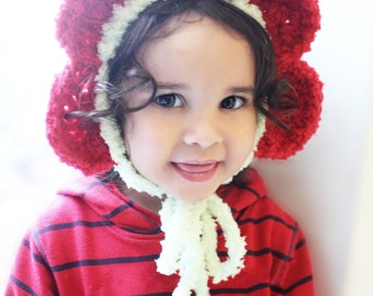 6 to 12m Flower Bonnet Baby Daisy Hat Toddler Hat, Childrens Lime Green Red Petal Flower Bonnet Costume, Flower Girl Hat Flower Prop