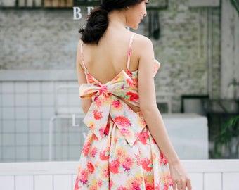 Floral Dress Summer Prom Dress Vintage Sundress Back Bow Backless Dress Swing Dance Dress Ruffle Pink Party Dress Cocktail Graduation