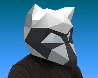 Raccoon Mask Papercraft PDF DIY Paper Craft Racoon Low Poly Paper Coon Head Wild Animal