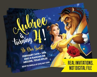 Beauty and the Beast Invitation - Beauty and the Beast Birthday Invitation - Belle InvitationPrinted
