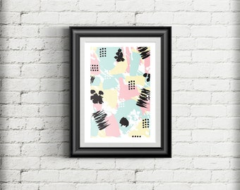 Contemporary Abstract Art Print, Scandinavian Style Pattern Giclee Art Print Gift Poster