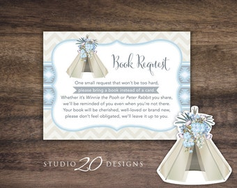 Instant Download Tribal Boho Book Request, Tan Grey Baby Blue Teepee Book in Lieu of Card, Aztec Shower Book Instead of Card for Boy #85B