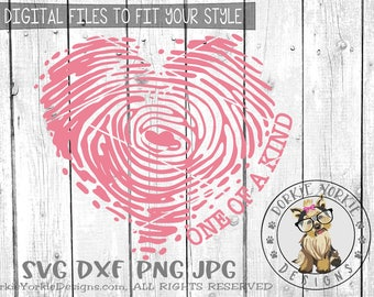 One of a kind -heart fingerprint - svg, dxf, png, jpg - love, holiday, hearts, swirls, Cricut, Studio Cutable file