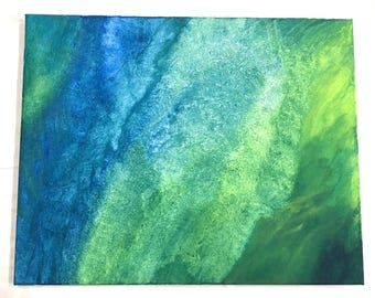 Original Abstract Acrylic Painting Blue/Green