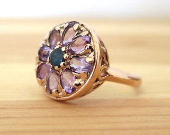 Sapphire Ring, Sapphire Vintage Ring, Amethyst Vintage Ring, Rose Gold Ring, Vintage Gold Ring, 14k Real Gold Ring, Flower Mandala Ring
