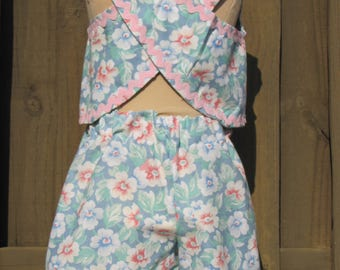 Girls size 4 shorts set from vintage fabric