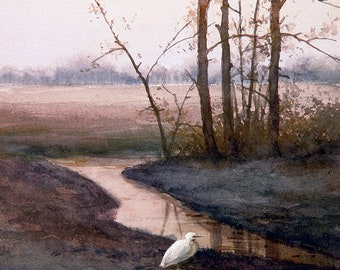 Egrets in the field - Wildlife Art Print of Watercolor Painting - Birds, Egrets, Trees, Lake, Sunrise