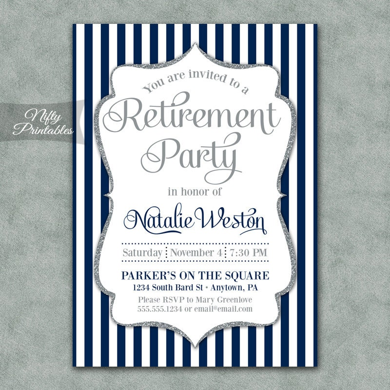 Retirement Invitations Printable Silver & Navy Blue