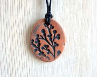 One of a kind Essential Oil Diffuser Yoga Pendant Necklace Mothers Day Ceramic Nature Jewelry Terracotta Black Botanical Kiln Fired Pottery