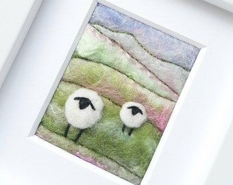 Felted sheep landscape scene - Miniature fiber art created in Needle Felting and Embroidery - an original gift for a sheep fan