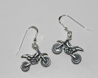 Sterling Silver 3D DIRT BIKE Earrings - Motorcycle, Sports