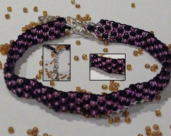 Pink & Black seed beads bracelet model 3