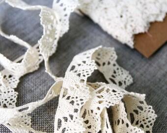 """Vintage lace trim, natural cream cotton lace, 3/4"""" wide woven lace edging"""