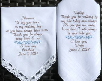 Embroidered Wedding Handkerchiefs Wedding Gift for Mom and Dad Wedding Handkerchiefs for Parents set of 2 By Canyon Embroidery
