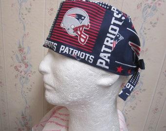 NEW ENGLAND PATRIOTS men's-tieback scrub hat/ ladies bouffant scrub hat -medical / sugical -handmade