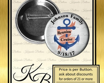 """Family Reunion Cruise Pins, 2.25"""" Family Reunion Buttons, Family Cruise, Reunion Souvenir, Party Favors Magnets, Pocket Mirrors, Key Chains"""