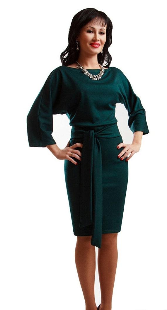 Brownish-Green Knee Length Dresses