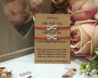 Double/Twin Wish Bracelet, Friendship Bracelet, Best Friend Bracelet, Infinity Charm Bracelet, Infinity Wish Bracelet, Friend Gift