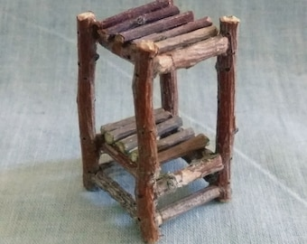 Miniature Rustic Fairy 2 Shelf Unit Made From Tree Twigs