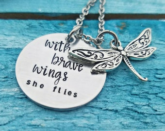 With Brave Wings She Flies Dragonfly Necklace Congratulations Gift Graduation Gifts for Her Inspirational Necklace Quote Jewelry Dragonflies