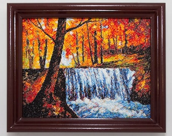 """Embroidered painting """"The Waterfall"""" - Birthday gift - Gift for mother - Textile wall art - Embroidery Picture - Anniversary present"""
