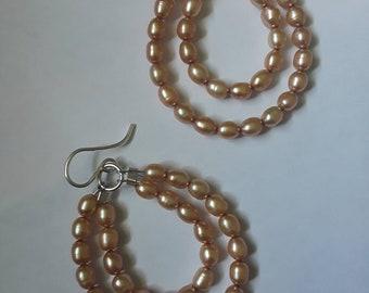Dusty Gold Double Strand Beaded Seed Pearl Sterling Silver Hoop Earrings, June Birthstone