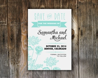 Custom Save The Date Card - Printable 5X7 - DIY Wedding - Evite -