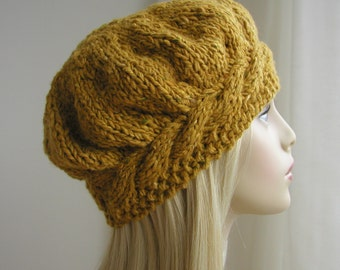 Weekend Cable Beret Tam Hat Knitting Pattern