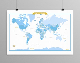 World Map - Blue - a Scandinavian modern design print // 13x19 // mid century modern map // kids room wall art // kids room decor