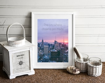 New York City Inspired A4 Quote Print - FREE Shipping to UK.