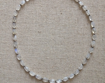 Rainbow moonstone and pyrite necklace