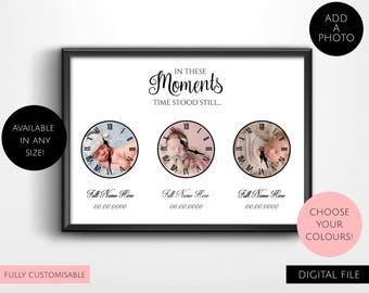 Digital Download Personalised, Customisable In These Moments Time Stood Still Typography Wall Art Prints - Clock, Memories, Photo Collage