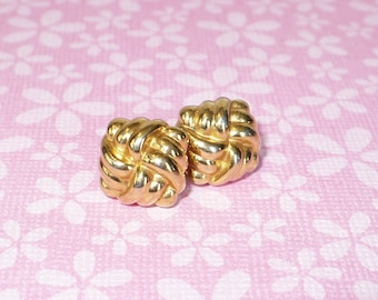 Monet square love knot gold tone post earring vintage 1980's.