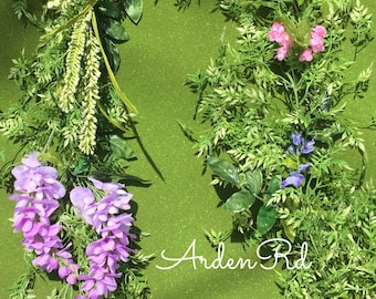 Floral and tropical green leaf garland for Te Fiti banner