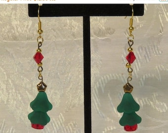 Jewelry Sale Christmas Tree Earrings - Green and Red Glass