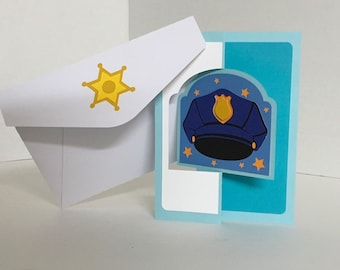 Police Card , Flip card , Law , Men , Woman , Thank you , Appreciation , Stars , First Responder